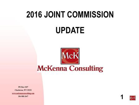 2016 JOINT COMMISSION UPDATE
