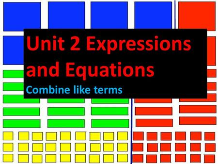 Unit 2 Expressions and Equations Combine like terms.