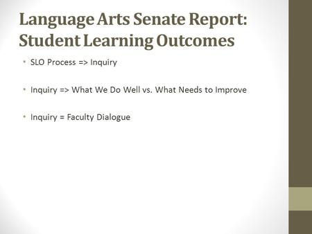 Language Arts Senate Report: Student Learning Outcomes SLO Process => Inquiry Inquiry => What We Do Well vs. What Needs to Improve Inquiry = Faculty Dialogue.