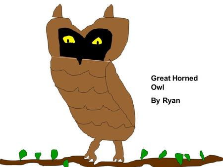 Great Horned Owl By Ryan. Description Coloring: Size: Physical Characteristics: Source #__1_______ The Great Horned owl has a brown and white body. It.
