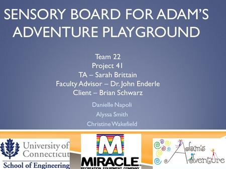 SENSORY BOARD FOR ADAM'S ADVENTURE PLAYGROUND Danielle Napoli Alyssa Smith Christine Wakefield Team 22 Project 41 TA – Sarah Brittain Faculty Advisor –