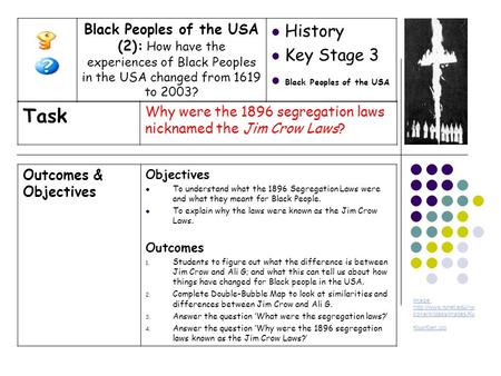 Outcomes & Objectives Objectives To understand what the 1896 Segregation Laws were and what they meant for Black People. To explain why the laws were known.