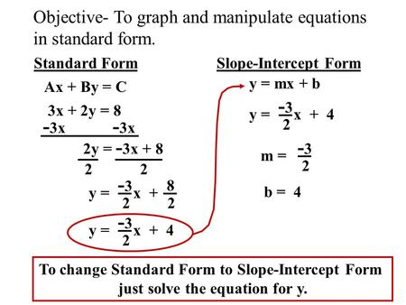 Ch 4.3 (Extra) Writing Equation from Standard to Slope-Intercept ...