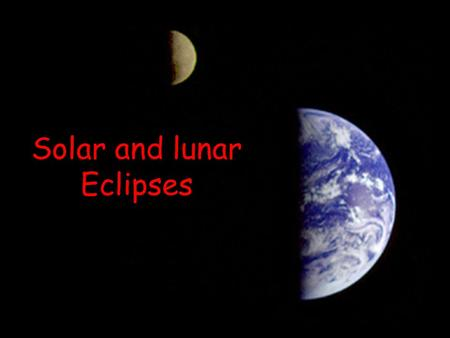 Solar and lunar Eclipses. Eclipses The Sun and Moon occasionally line up so that we have an eclipse. –These eclipses happen every year –To see a solar.