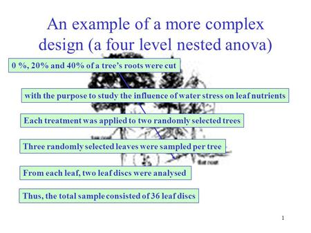 1 An example of a more complex design (a four level nested anova) 0 %, 20% and 40% of a tree's roots were cut with the purpose to study the influence.