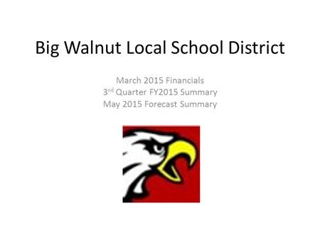 Big Walnut Local School District March 2015 Financials 3 rd Quarter FY2015 Summary May 2015 Forecast Summary.