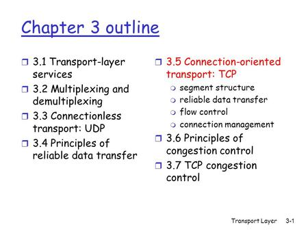 Transport Layer3-1 Chapter 3 outline r 3.1 Transport-layer services r 3.2 Multiplexing and demultiplexing r 3.3 Connectionless transport: UDP r 3.4 Principles.