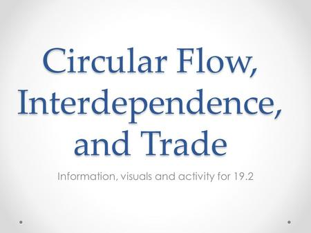 Circular Flow, Interdependence, and Trade Information, visuals and activity for 19.2.