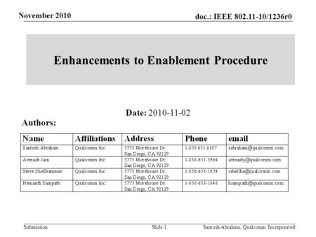 Submission November 2010 doc.: IEEE 802.11-10/1236r0 Enhancements to Enablement Procedure Slide 1 Santosh Abraham, Qualcomm Incorporated Date: 2010-11-02.