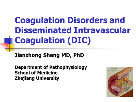 Coagulation Disorders and Disseminated Intravascular Coagulation (DIC) Jianzhong Sheng MD, PhD Department of Pathophysiology School of Medicine Zhejiang.