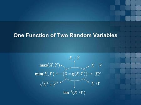 One Function of Two Random Variables.  X and Y : Two random variables  g ( x, y ): a function  We form a new random variable Z as  Given the joint.