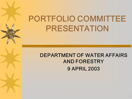 1 PORTFOLIO COMMITTEE PRESENTATION DEPARTMENT OF WATER AFFAIRS AND FORESTRY 9 APRIL 2003.