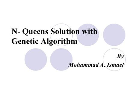 N- Queens Solution with Genetic Algorithm By Mohammad A. Ismael.
