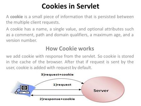 Cookies in Servlet A cookie is a small piece of information that is persisted between the multiple client requests. A cookie has a name, a single value,