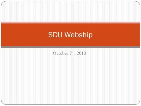 October 7 th, 2010 SDU Webship. What did we learn last week? jQuery makes it really easy to select elements and do stuff with them. jQuery can process.