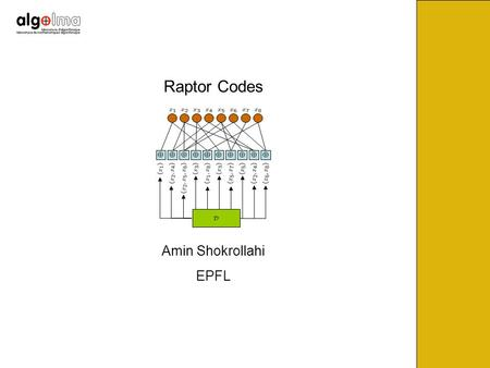 Raptor Codes Amin Shokrollahi EPFL. BEC(p 1 ) BEC(p 2 ) BEC(p 3 ) BEC(p 4 ) BEC(p 5 ) BEC(p 6 ) Communication on Multiple Unknown Channels.