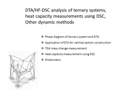 Other dynamic methods Phase diagram of ternary system and DTA