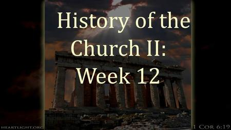 History of the Church II: Week 12. The Church in Society  What is the role of the Church in society?  In England where Wesley and Whitefield had been.