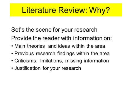 need for literature review in research ppt Example of a literature review on then general education teachers need to be research (zionts, 1997.