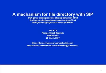 1 A mechanism for file directory with SIP draft-garcia-sipping-resource-sharing-framework-01.txt draft-garcia-sipping-resource-event-package-01.txt draft-garcia-sipping-resource-desc-pidf-00.txt.