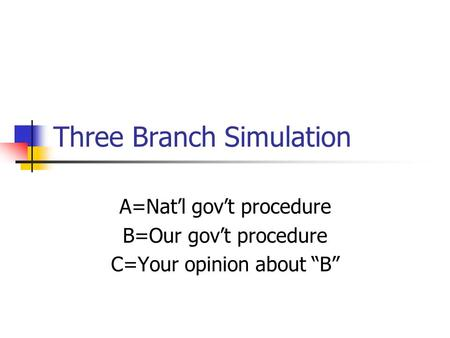 "Three Branch Simulation A=Nat'l gov't procedure B=Our gov't procedure C=Your opinion about ""B"""