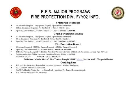F.E.S. MAJOR PROGRAMS FIRE PROTECTION DIV. F/Y02 INFO. Sructural Fire Branch 59 Personnel Assigned. 10 Equipment Assigned, Operated and Maintained. 306.