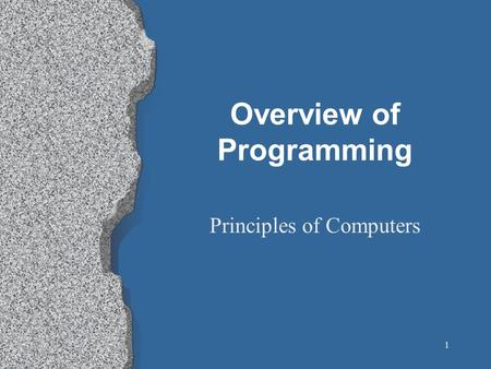 1 Overview of Programming Principles of Computers.