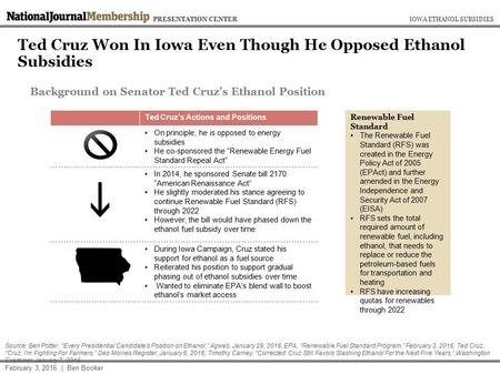 Ted Cruz Won In Iowa Even Though He Opposed Ethanol Subsidies IOWA ETHANOL SUBSIDIESPRESENTATION CENTER February 3, 2016 | Ben Booker Source: Ben Potter,
