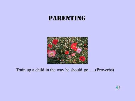 Parenting Train up a child in the way he should go ….(Proverbs)