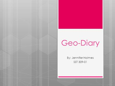 Geo-Diary By: Jennifer Holmes SST 309-01. My House  4:30 pm  October 23, 2012  Facing NW  Emerald Ave NE in Grand Rapids  This is my humble abode.