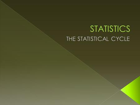  Statistics is the collection, analysis, interpretation, presentation, and organization of data.