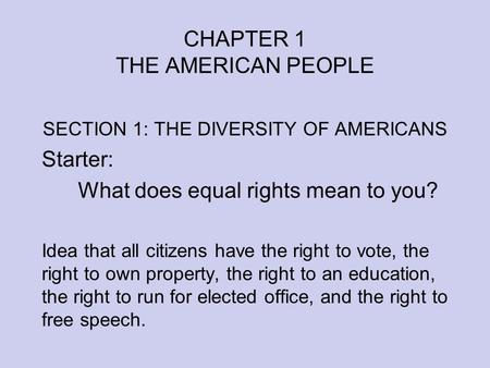 Equality the american ideal