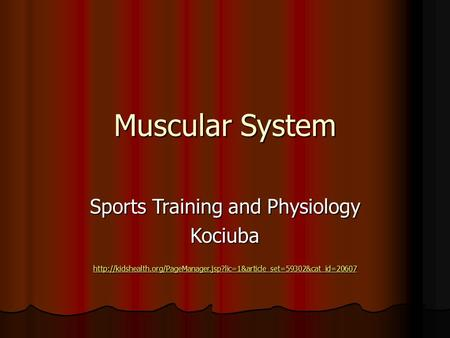 Muscular System Sports Training and Physiology Kociuba