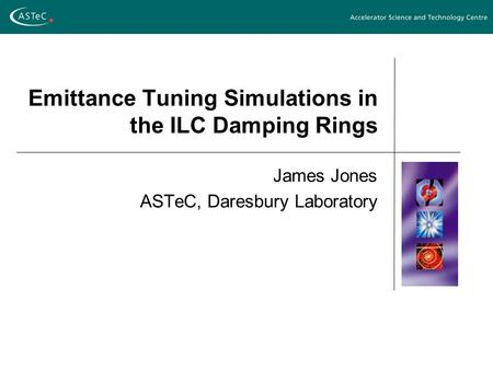 Emittance Tuning Simulations in the ILC Damping Rings James Jones ASTeC, Daresbury Laboratory.