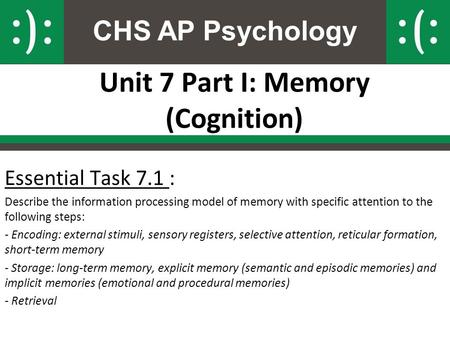 CHS AP Psychology Unit 7 Part I: Memory (Cognition) Essential Task 7.1 : Describe the information processing model of memory with specific attention to.