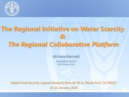 The Regional Initiative on Water Scarcity & The Regional Collaborative Platform Michela Marinelli Geospatial analyst FAO Rome, Italy Global Food Security-Support.