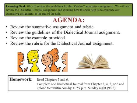 "Learning Goal: We will review the guidelines for the ""Catcher"" summative assignment. We will also review the Dialectical Journal assignment and examine."