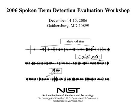 2006 Spoken Term Detection Evaluation Workshop December 14-15, 2006 Gaithersburg, MD 20899 National Institute of Standards and Technology Technology Administration,