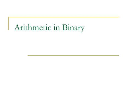 "Arithmetic in Binary. Addition A ""Rule of Addition"" is a statement of the form: 3 + 5 = 8 How many such rules are there in Decimal?"