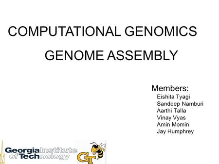 COMPUTATIONAL GENOMICS GENOME ASSEMBLY