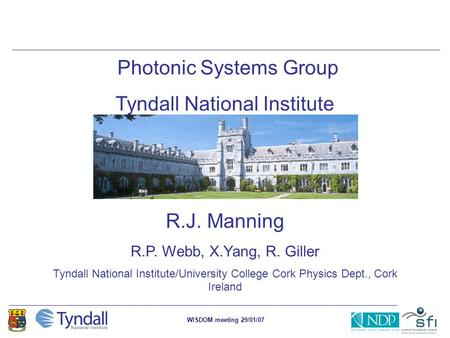 WISDOM meeting 29/01/07 Photonic Systems Group Tyndall National Institute R.J. Manning R.P. Webb, X.Yang, R. Giller Tyndall National Institute/University.