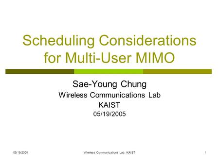 Scheduling Considerations for Multi-User MIMO