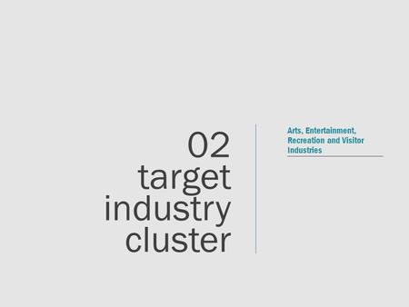 Arts, Entertainment, Recreation and Visitor Industries 02 target industry cluster.