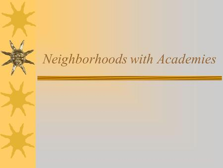 Neighborhoods with Academies. Neighborhood with Academies 9 th 10 th 11 th 12 th 11 th & 12 th Focus Academies.