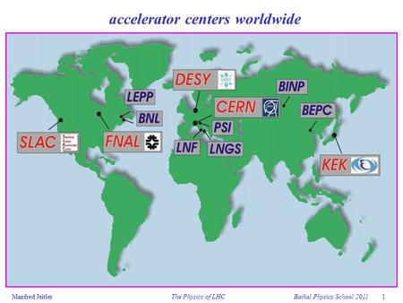 Manfred Jeitler The Physics of LHC Baikal Physics School 2011 1 accelerator centers worldwide.