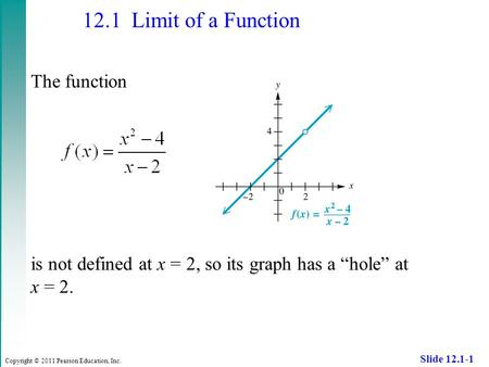 "Copyright © 2011 Pearson Education, Inc. Slide 12.1-1 12.1 Limit of a Function The function is not defined at x = 2, so its graph has a ""hole"" at x = 2."