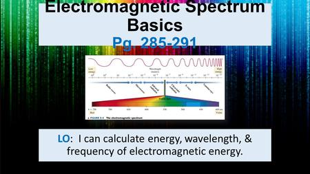Electromagnetic Spectrum Basics Pg. 285-291 LO: I can calculate energy, wavelength, & frequency of electromagnetic energy.