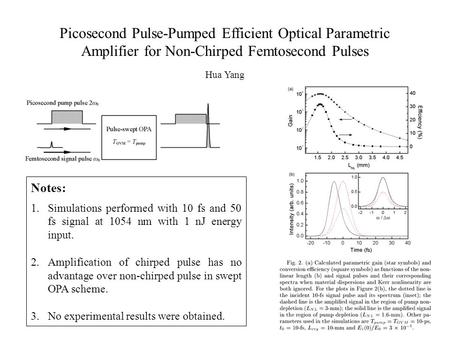 Picosecond Pulse-Pumped Efficient Optical Parametric Amplifier for Non-Chirped Femtosecond Pulses Hua Yang Notes: 1.Simulations performed with 10 fs and.