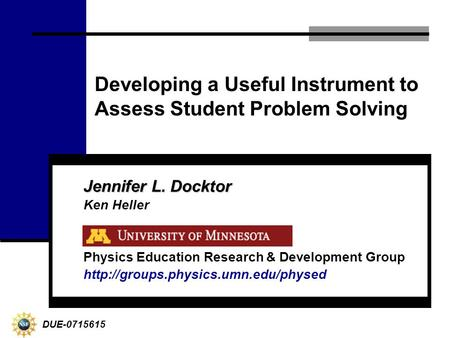 physics problem solving ppt video online developing a useful instrument to assess student problem solving jennifer l docktor ken heller physics