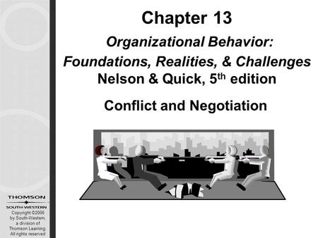 Copyright ©2006 by South-Western, a division of Thomson Learning. All rights reserved Chapter 13 Organizational Behavior: Foundations, Realities, & Challenges.